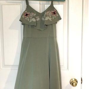 Alya sage green dress w/ embroidered flower bodice